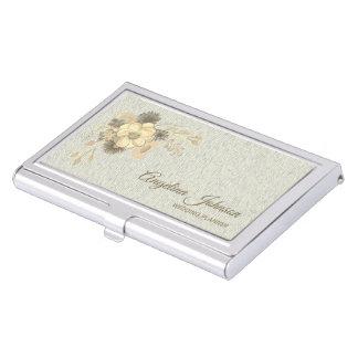 Floral Vintage Watercolor Golden Rustic Elegant Business Card Holder