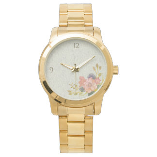 Floral Vintage Watercolor Rustic Golden Elegant Watch