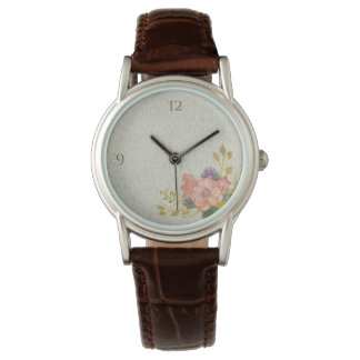 Floral Vintage Watercolor Rustic Romantic Elegant Watch