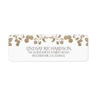 Floral Vintage White Garden Wedding Return Address Label