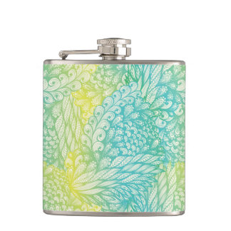 Floral Vintage Yellow And Blue Gradient Flasks