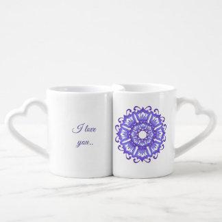 Floral violet mandala. I love you. Coffee Mug Set