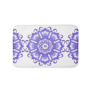 Floral violet mandala. Monogram. Bath Mat