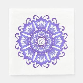 Floral violet mandala. Monogram. Paper Napkin