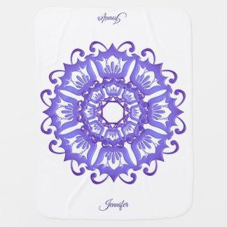 Floral violet mandala.Name. Baby Blanket