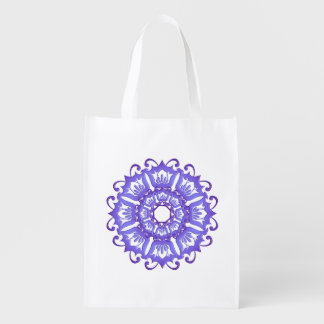 Floral violet mandala. reusable grocery bag