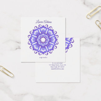 Floral violet mandala. Text. Square Business Card