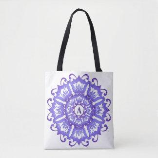 Floral violet mandala. tote bag