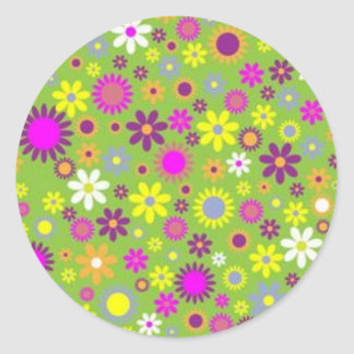 Floral w/ Green Background Stickers