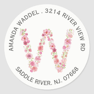 Floral W Initial Monogram Return Address Sticker