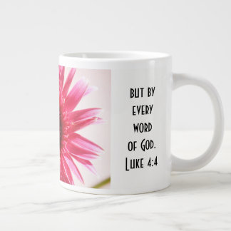 Floral w/ Scripture Verse, Pink Gerbera Daisy Large Coffee Mug