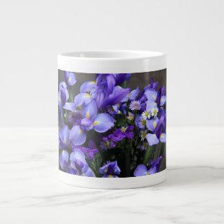 Floral w/ Scripture Verse, Purple Iris Large Coffee Mug