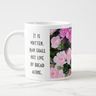 Floral w/ Scripture Verse, Red/Pink Carnations Giant Coffee Mug