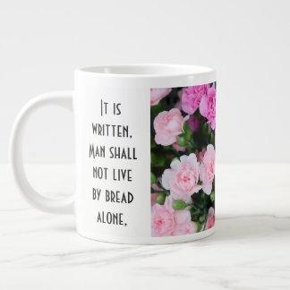 Floral w/ Scripture Verse, Red/Pink Carnations Large Coffee Mug