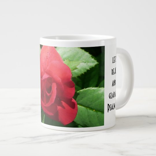 Floral w/ Scripture Verse, Red Rose Large Coffee Mug