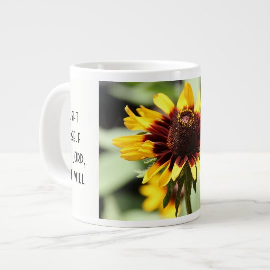 Floral w/ Scripture Verse, Yellow Daisy Giant Coffee Mug
