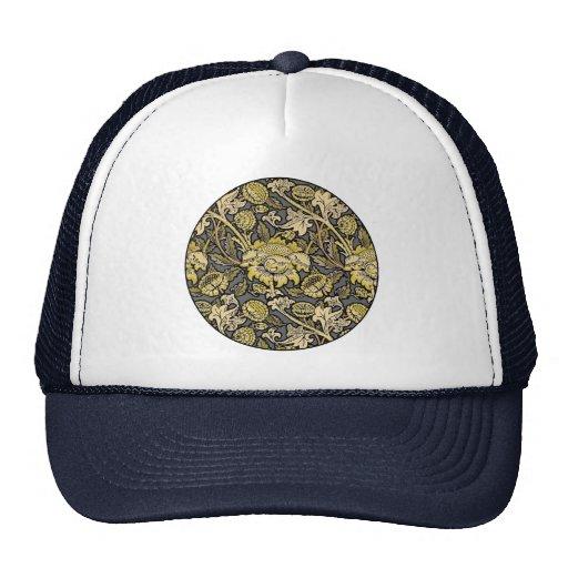 Floral Wallpaper Vintage Designer Pattern Mesh Hats