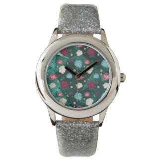 Floral Watch Silver Glitter