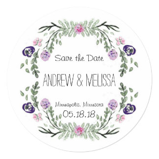 Floral water color wreath wedding save the date card