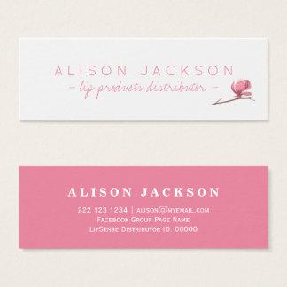 Floral watercolor blush pink lip color distributor mini business card