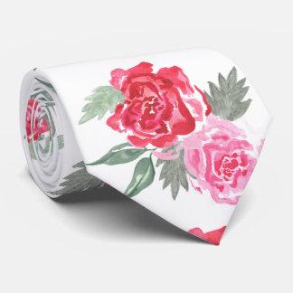 Floral watercolor bohemian rose wedding tie