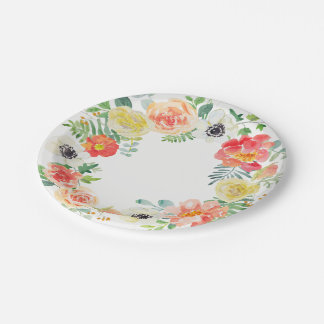 Floral Watercolor Border 7 Inch Paper Plate
