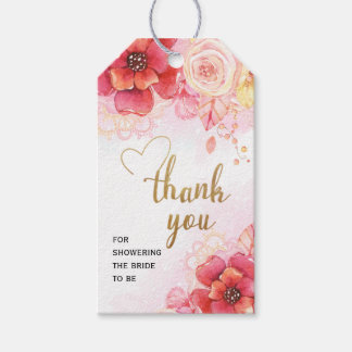 Floral Watercolor Bouquet Thank You Gift Tag