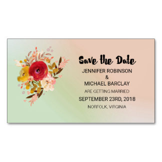 Floral Watercolor Bouquet Wedding Save the Date Magnetic Business Card