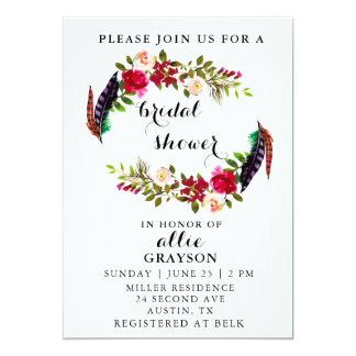 Floral Watercolor Bridal Shower Invitation