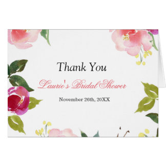 Floral Watercolor Bridal Shower Thank you card
