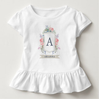 Floral Watercolor Crest with Monogram Toddler T-shirt