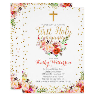 Floral Watercolor First Holy Communion Invitation