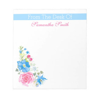 Floral watercolor flower | Personalize name Notepad