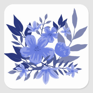 Floral Watercolor Flowers Blue And White Square Sticker