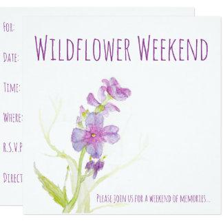 Floral Watercolor Flowers Purple Painted Blooms Card