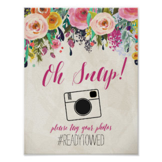 Floral Watercolor flowers Wedding Hash Tag Sign