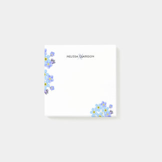 Floral Watercolor forget me not monogram name Post-it Notes