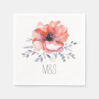 Floral Watercolor Garden Wedding Disposable Napkin