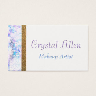 Floral Watercolor Gold Glitter Make Up Artist Business Card