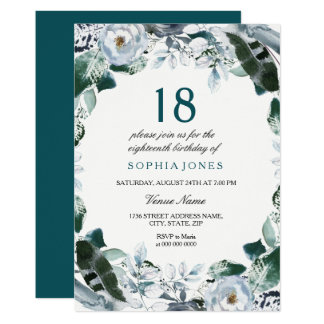 Floral Watercolor Jade Green 18th Birthday Invite