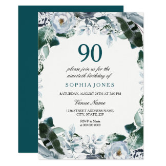 Floral Watercolor Jade Green 90th Birthday Invite