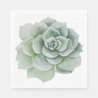 Floral Watercolor Mint Green Succulent Cactus Disposable Napkin