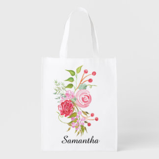 Floral watercolor mix bridal name reusable grocery bags