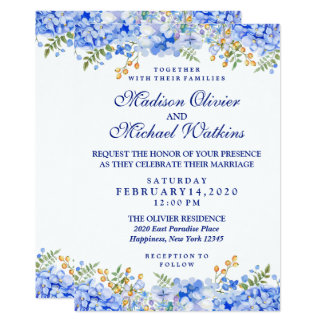 Floral Watercolor Modern Wedding Invitation Card