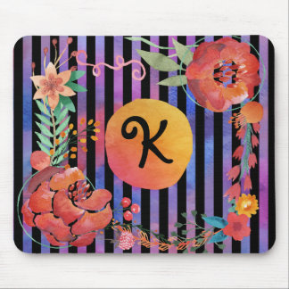 Floral watercolor monogram with stripes mouse pad