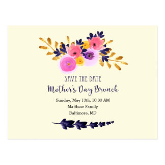 Floral Watercolor Mothers Day Brunch Save The Date Postcard