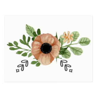 Floral Watercolor Peach Anemone Flowers Hello Love Postcard