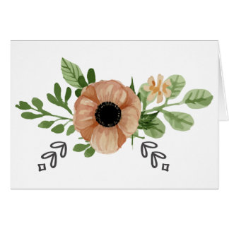 Floral Watercolor Peach Anemone Flowers Love Hello Card