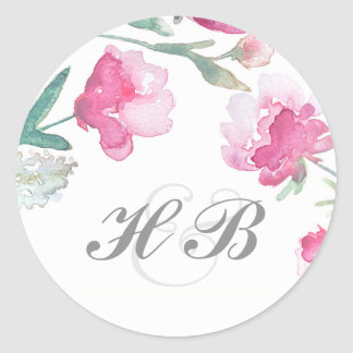 Floral Watercolor Peony Wedding Round Sticker