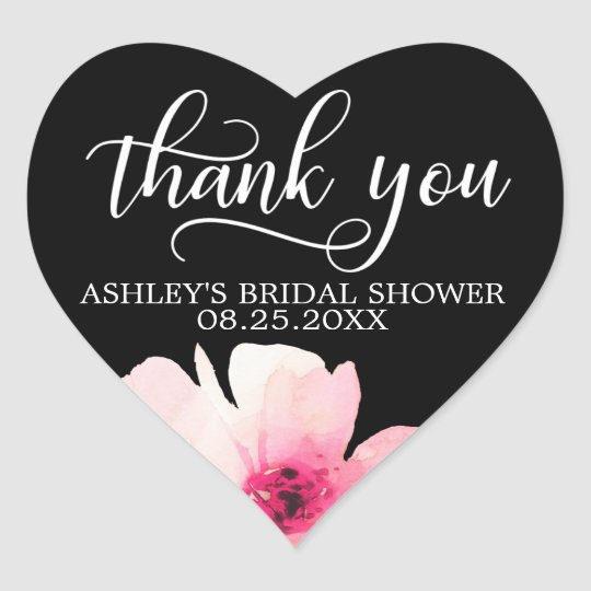 Floral Watercolor Pink Bridal Shower Thank You Heart Sticker
